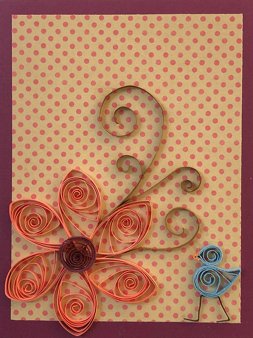Blue Bird Series- Coral and Burgundy Floral Design