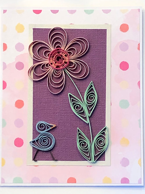 Blue Bird Series – Polka Dot Design With Single Pink Flower