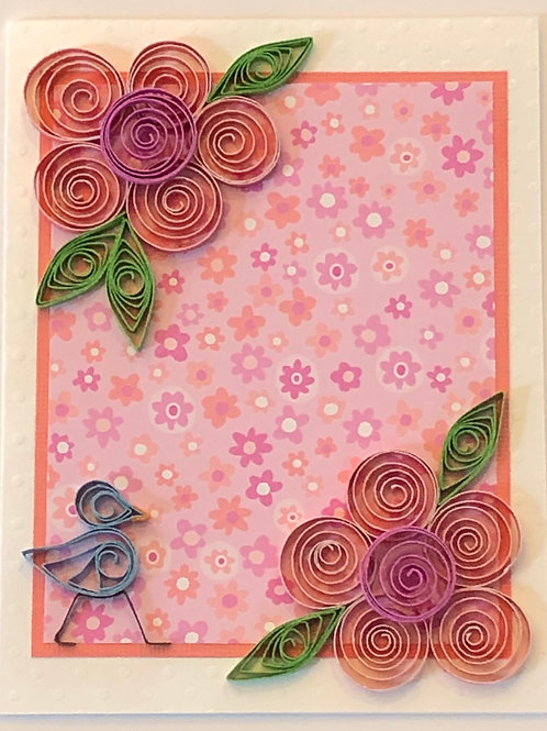 Blue Bird Series –Five Petal Flowers In Pink And Peach