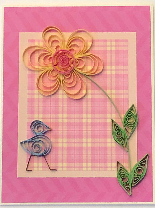 Blue Bird Series –Pink and Yellow Floral Design