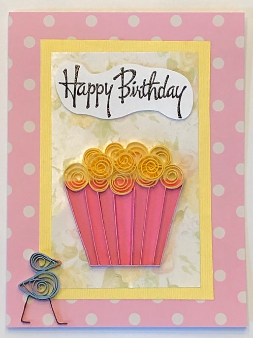 Blue Bird Series – Pink Liner w/ Bright Yellow Frosting & Happy Birthday