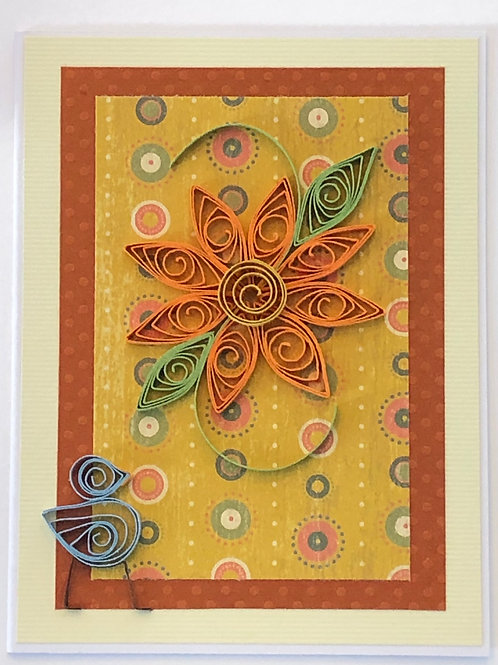 Blue Bird Series – Rust Orange And Green Patterned Paper With A Single Flower