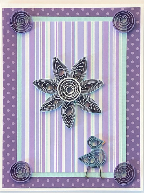 Blue Bird Series –Stripe And Polka Dot Pattern In Purple And Turquoise With A Si