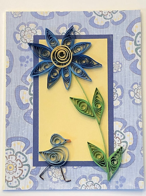 Blue Bird Series – Single Blue and Yellow Flower