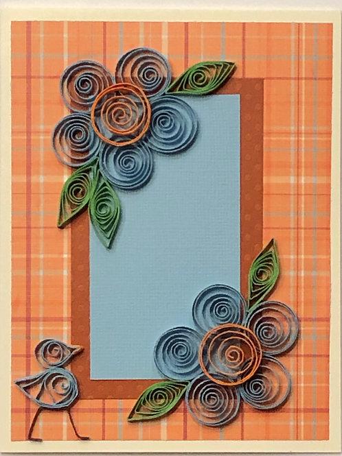 Blue Bird Series –Orange and Blue Floral Design