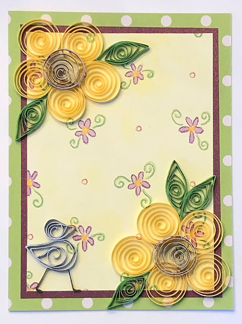 Blue Bird Series – Floral Print With Yellow And Purple Flowers