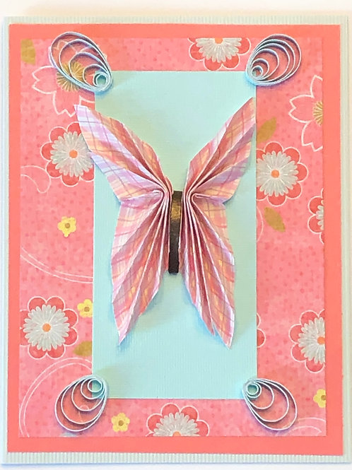 Origami Series – Pink and Turquoise Butterfly Design