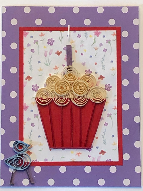 Blue Bird Series – Red Liner w/ Creamy White Frosting & Purple Candle