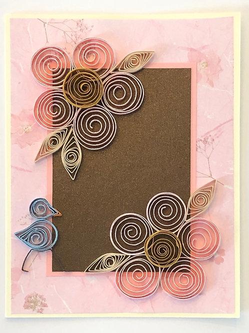 Blue Bird Series – Five Petal Flower In Pink And Metallic Brown