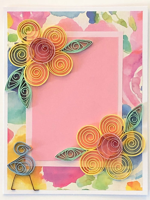 Blue Bird Series – Floral Print With Five Petal Flowers In Yellow And Pink