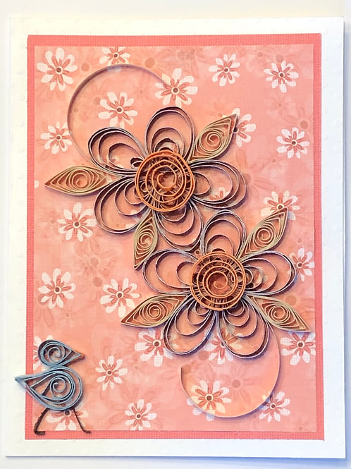 Blue Bird Series – Floral Print With Coral And Brown Flowers