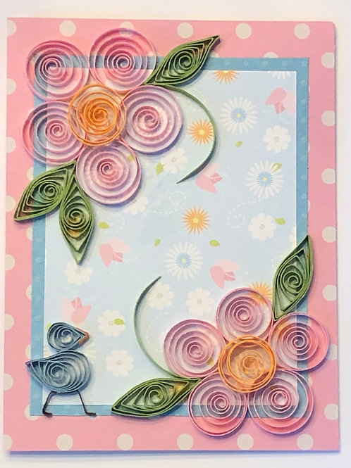 Blue Bird Series – Floral Print With Pink And Gold Flowers