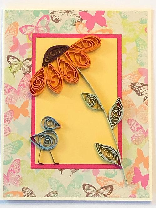 Blue Bird Series – Orange Flower with Brown Center