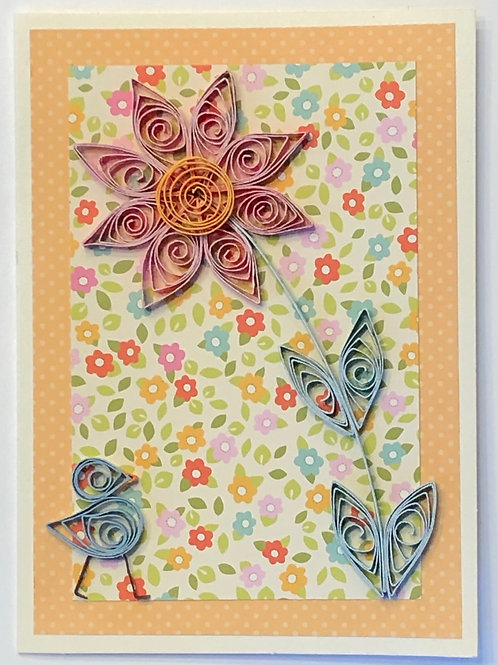 Blue Bird Series – Floral Print With Single Red Flower
