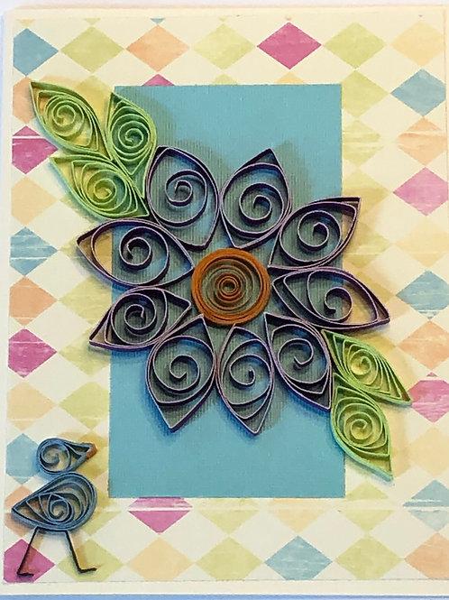Blue Bird Series – Purple Flower with Gold Center