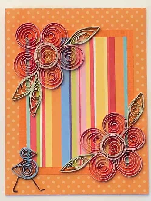 Blue Bird Series – Red and Orange Polka Dot and Stripe Pattern