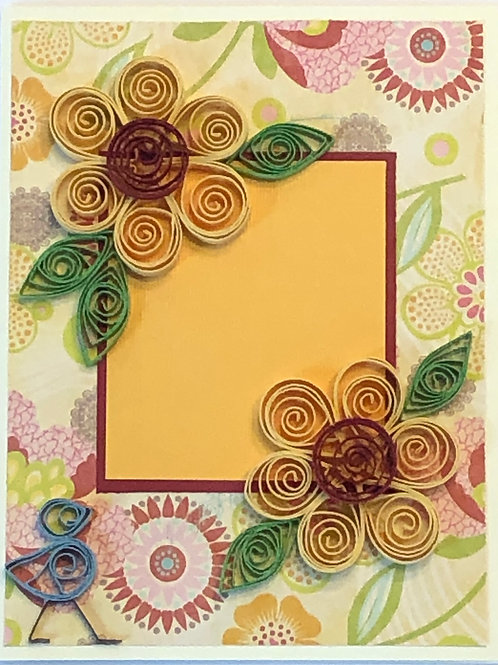 Blue Bird Series – Yellow and Maroon Floral Design