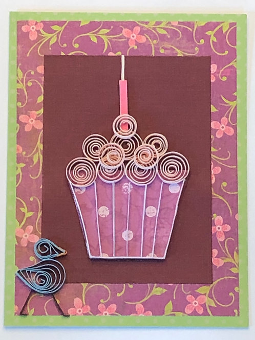 Blue Bird Series – Purple & White Liner w/ Soft Pink Frosting & Candle