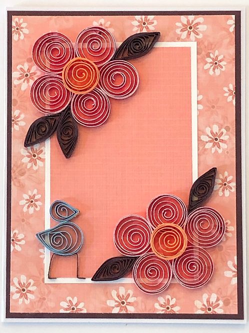 Blue Bird Series – Five Petal Flower in Peach, Red and Brown