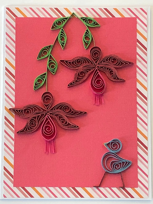 Blue Bird Series – Hanging Fuchsia in Maroon And Pink