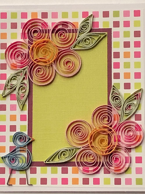 Blue Bird Series – Floral Design In Pinks Orange and Green