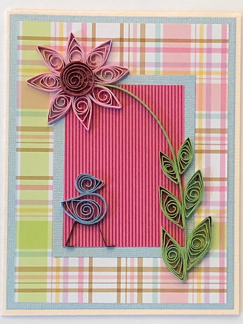 Blue Bird Series – Plaid Print With Single Pink Flower