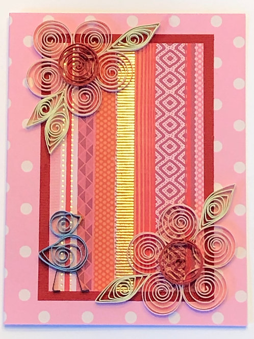 Blue Bird Series – Pink and Red Floral Design