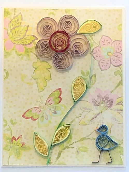 Blue Bird Series-Five Petal Flower (Mauve Pink and Red)