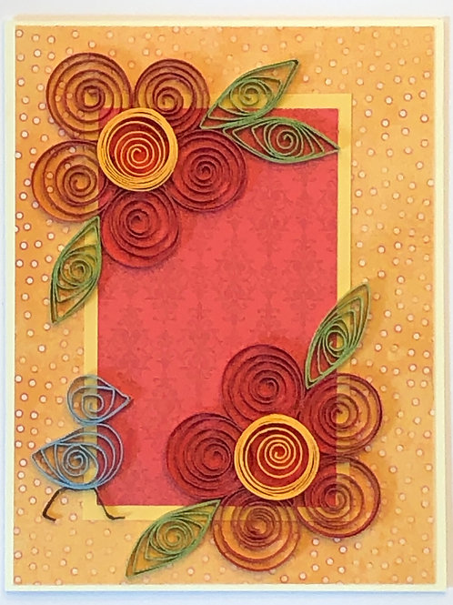 Blue Bird Series – Red and Gold Floral Design