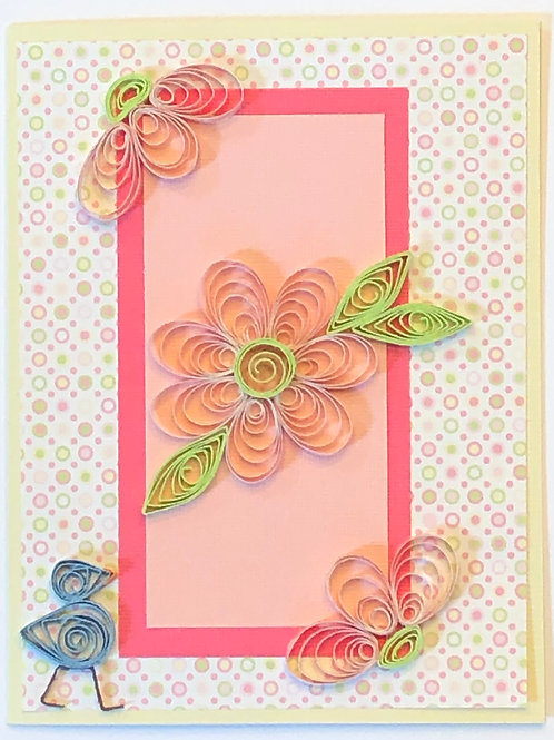 Blue Bird Series – Pink Flowers and Lime Green Floral Design