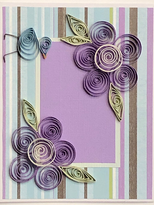 Blue Bird Series –Turquoise Lavender and Brown Floral Design