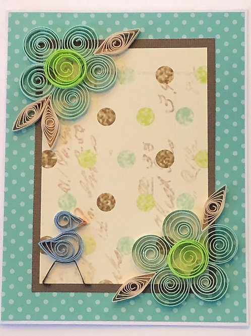 Blue Bird Series – Teal And Brown Polka Dot Design With Five Petal Flowers In Tu