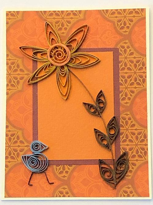 Blue Bird Series – Orange, Gold and Brown Mosaic Design
