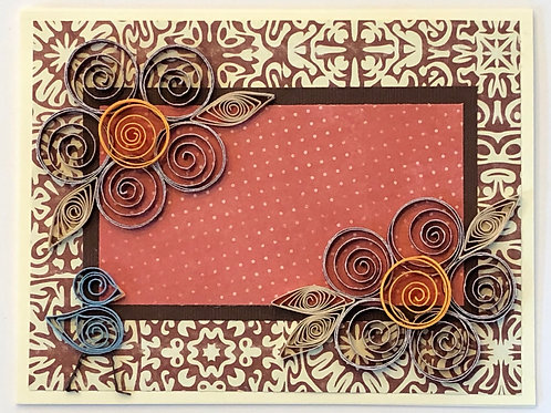 Blue Bird Series – floral pattern in Browns with gold centers