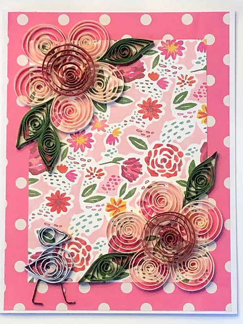 Blue Bird Series – Floral Print With Pink And Red Flowers