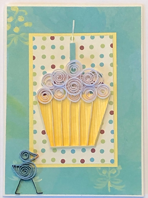 Blue Bird Series – Yellow Liner w/ White Frosting & Turquoise Candle