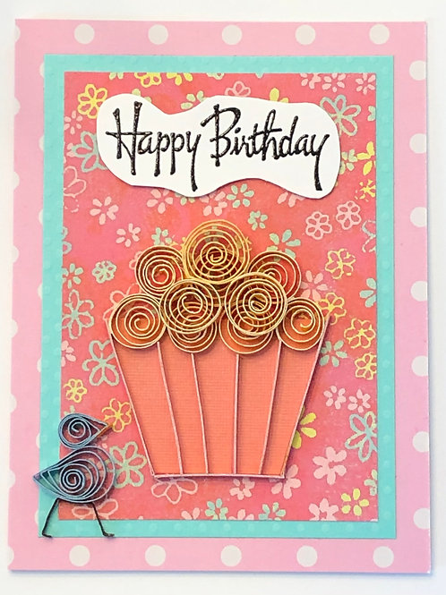 Blue Bird Series – Pink And Yellow Cupcake Design With Happy Birthday Banner