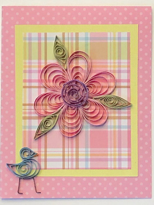 Blue Bird Series –Pink and Yellow Plaid with Floral Design