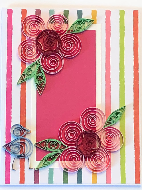 Blue Bird Series – Striped Design with Pink and Red Flowers