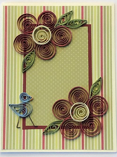 Blue Bird Series – Maroon and Green Shades of Polka Dots and Stripes