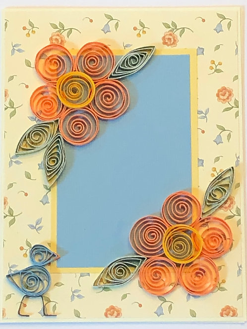 Blue Bird Series – Orange and Yellow Floral Design