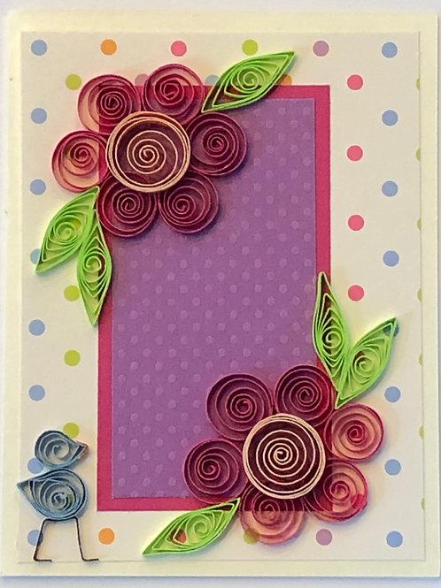 Blue Bird Series – Pink, Purple, and Orange Floral Design