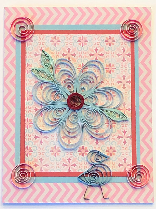 Blue Bird Series – Pastel Blue Flower with Pink Accents