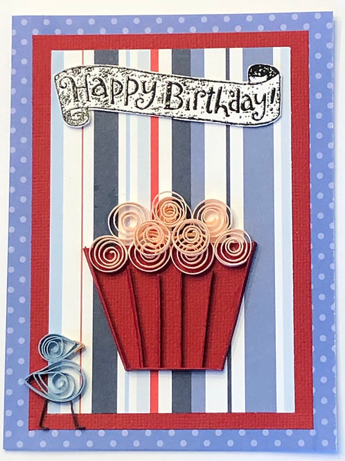 Blue Bird Series – Red Cupcake Liner With Blush Pink Frosting And A Happy Birthd
