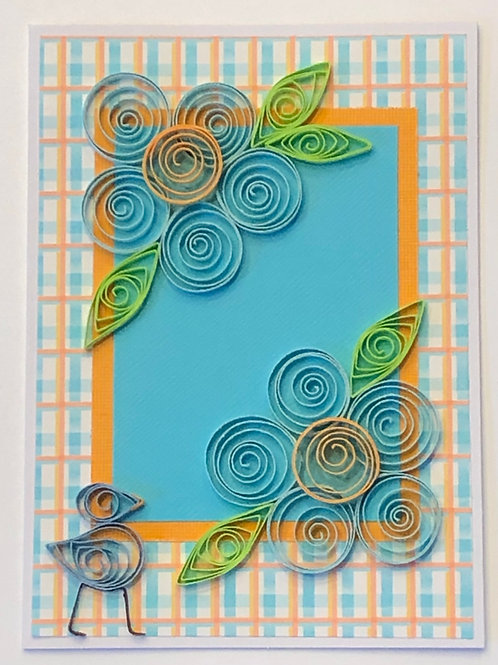 Blue Bird Series –Turquoise and Gold Floral Design