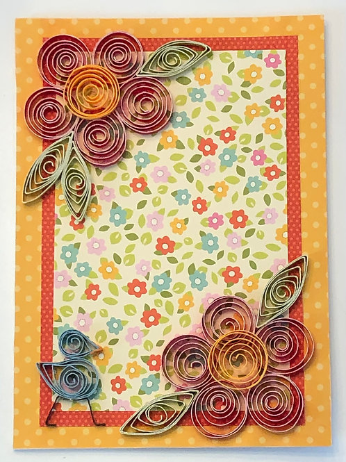 Blue Bird Series – Floral Print With Red And Yellow Flowers