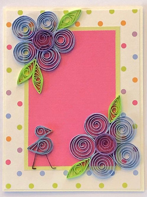 Blue Bird Series – Multi-Colored Polka Dot Pattern With Five Petal Flowers In Bl