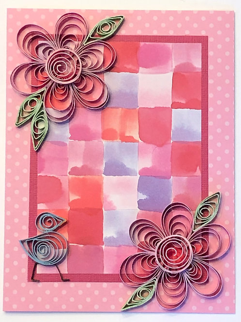 Blue Bird Series – Purple And Pink Plaid With Fuchsia Floral Design