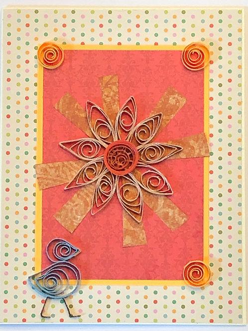 Blue Bird Series – Orange and Gold Flower