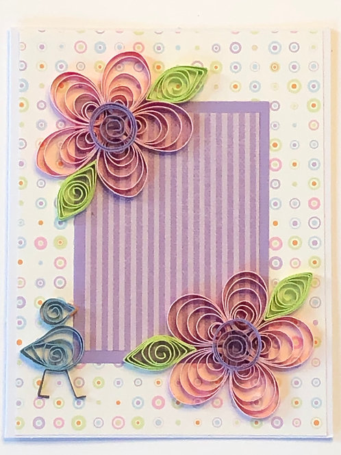 Blue Bird Series – Pink Flowers with Purple Centers